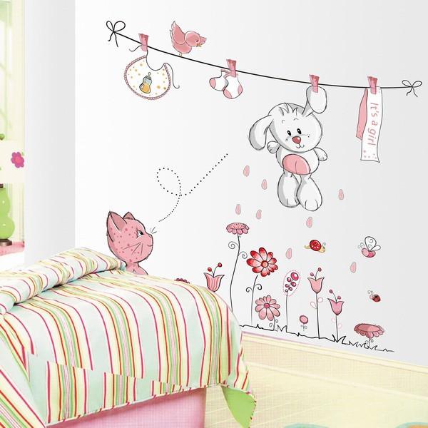 מדבקת קיר לחדר ילדים - חבל כביסה