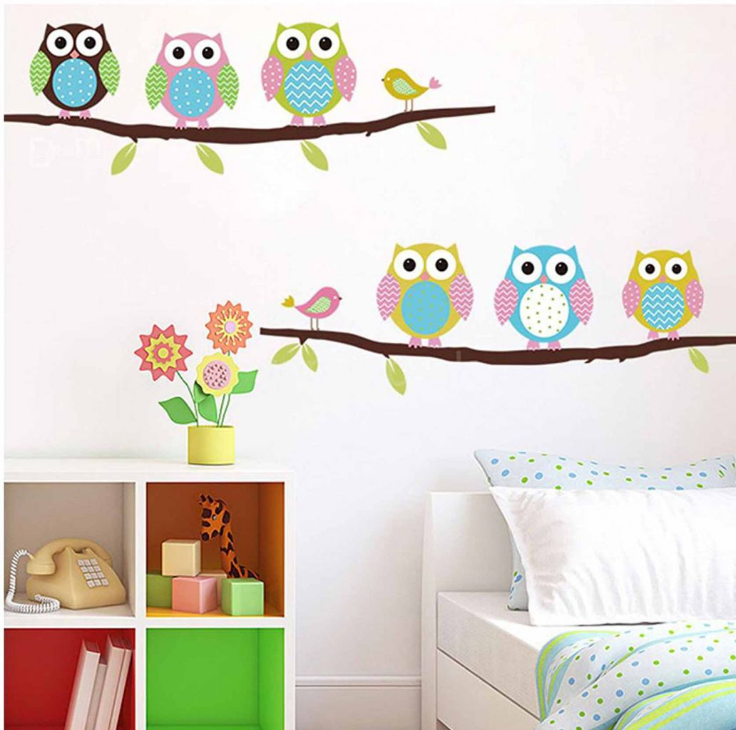 מדבקת קיר ינשופים על ענף
