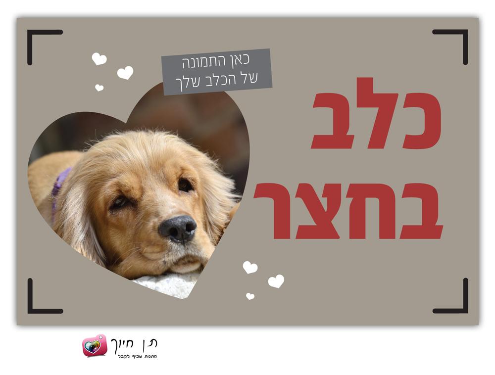 שלט כלב בחצר עם תמונה דגם 2