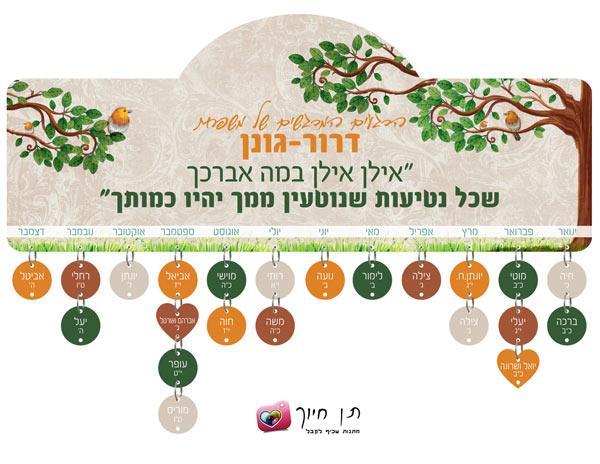 שלט ימי הולדת דגם עץ השדה