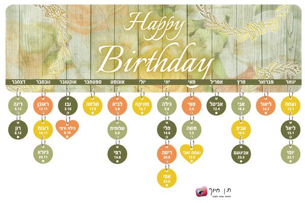 שלט/לוח ימי הולדת דגם יומולדת